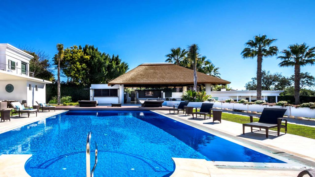 Poolside thatched outdoor living space with kitchen facilities