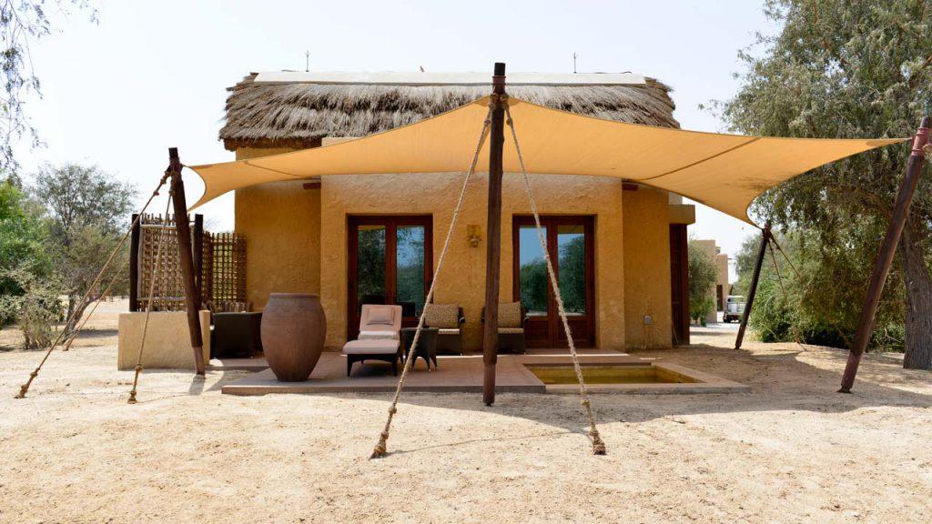 Anantara Sir Bani Yas Island resort with thatched chalets