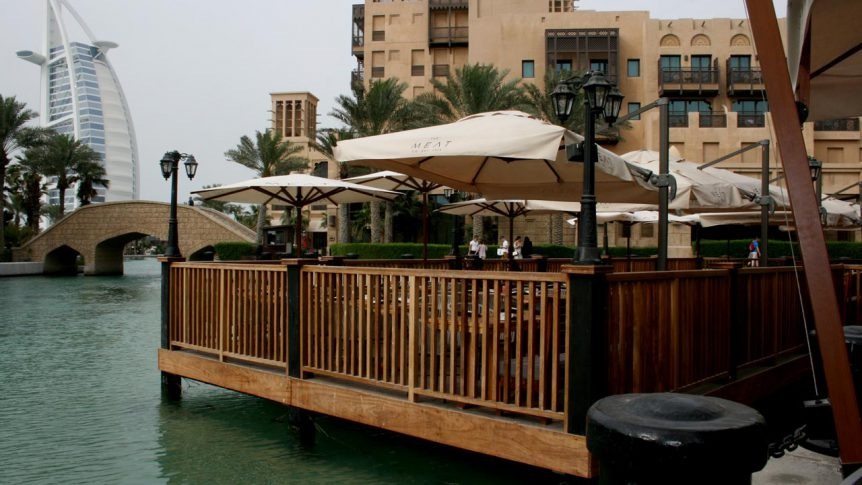 Timber deck with views of the Burj Al Arab