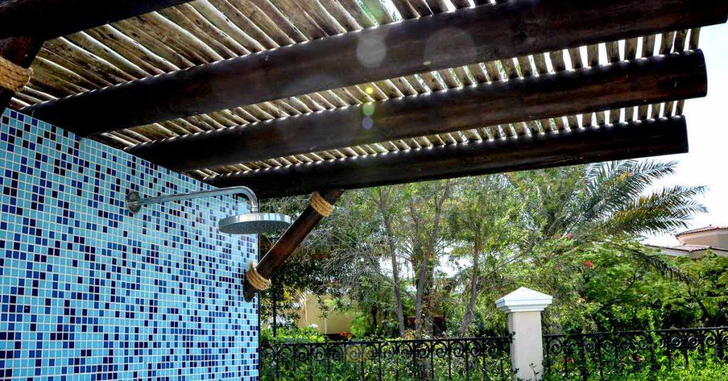 Outdoor shower timber pergola cover