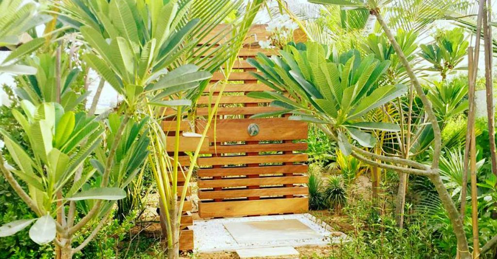 Tropical outdoor timber shower