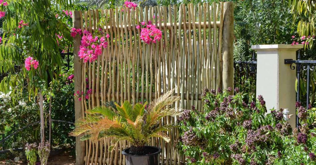Woven timber lath fence screen