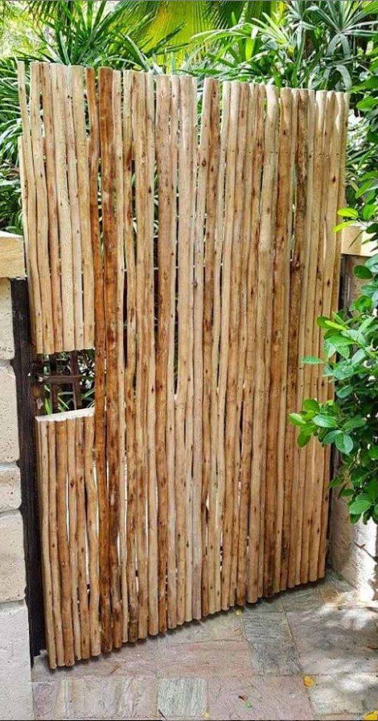 Timber lath garden gate
