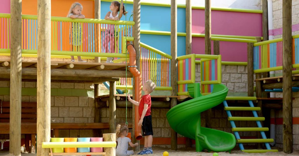 Fun and colourful outdoor play area encourages teamwork
