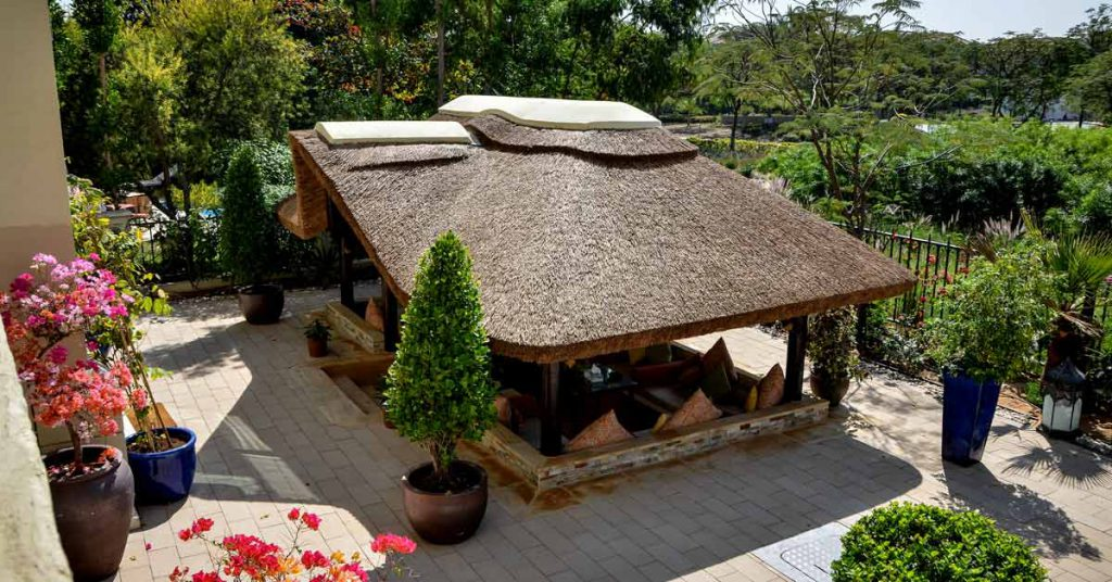 Thatched gazebo with gable entrance