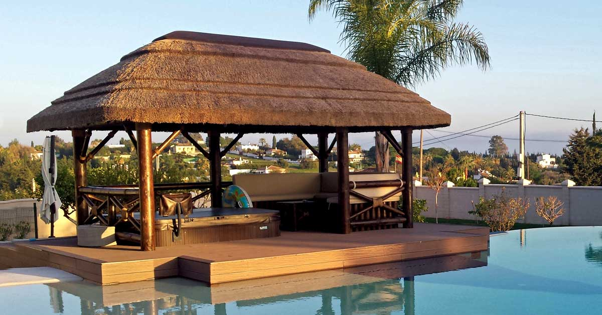 Timber decking with jacuzzi poolside