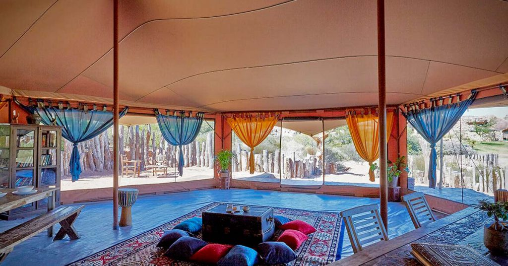Be Lounge canvas stretch tent with timber substructure interior