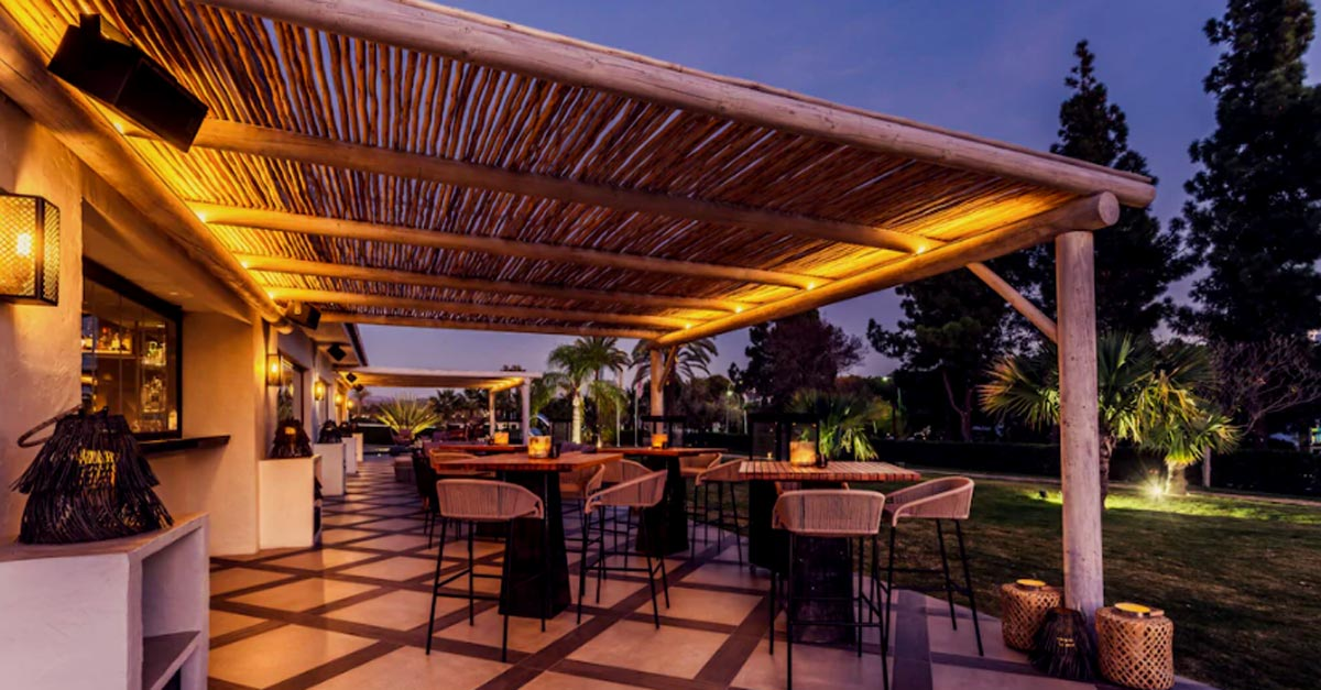 Cape Reed commercial project the Boho Club with a semi-shaded timber pergola over the terrace