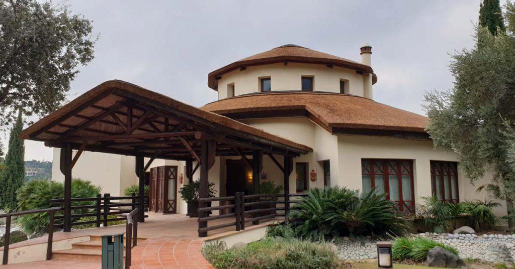 The New Course Clubhouse entrance at La Zagaleta