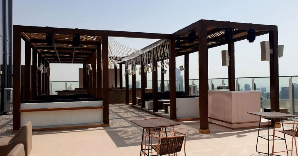 Taj Jumeirah teak square pergola on terrace