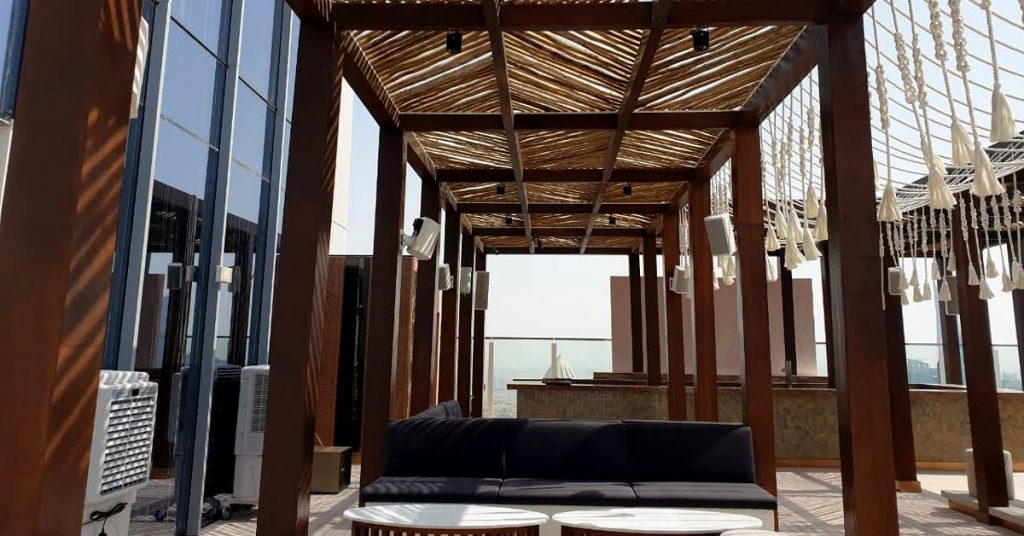 Taj Jumeirah teak square timber pergola