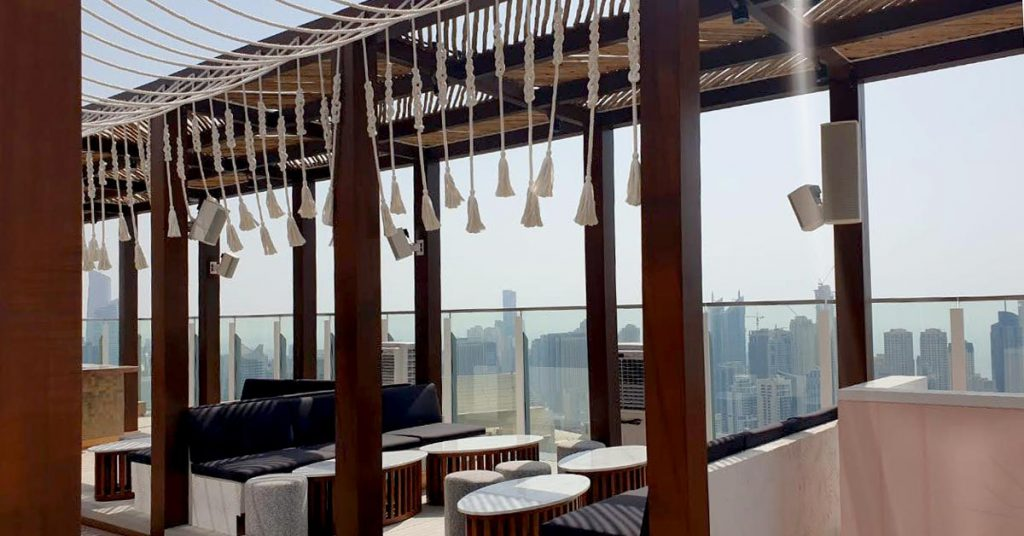 Taj Jumeirah Lakes Towers Hotel timber rooftop pergola