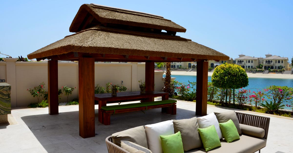 Thatch on square timber gazebo on the Palm Jumeirah