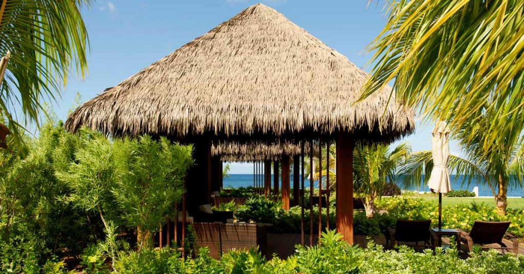 Cape Reed synthetic thatch roof Cabrits Resort Kempinski poolside cabanas