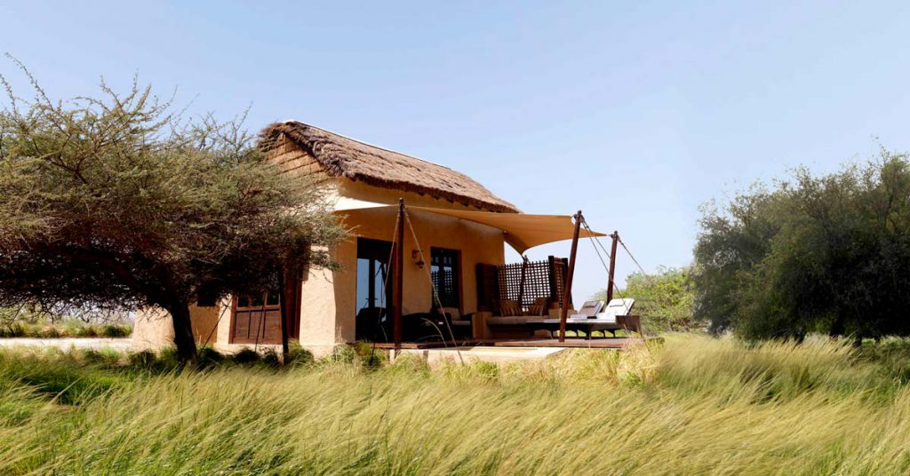 Cape Reed thatched roof chalet at Anantara Sir Bani Yas