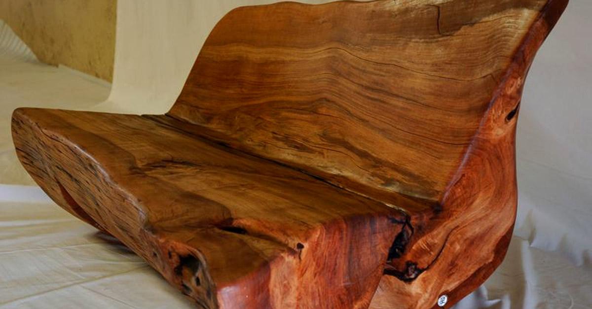 Timber furniture log bench