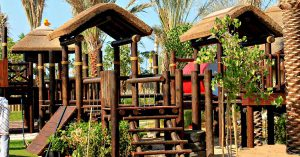 Cape Reed turnkey project timber and thatch climbing play structures