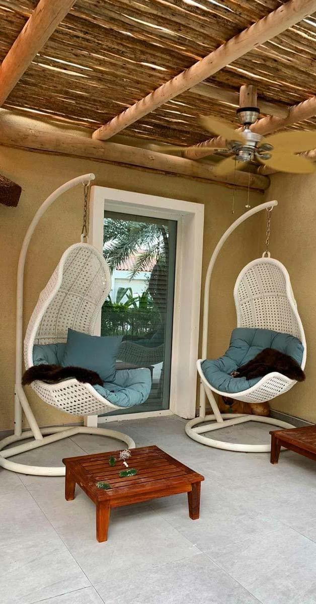 Eucalyptus Timber Pergola with Swing Chairs