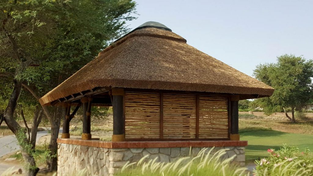 Thatched halfway house with lath panel