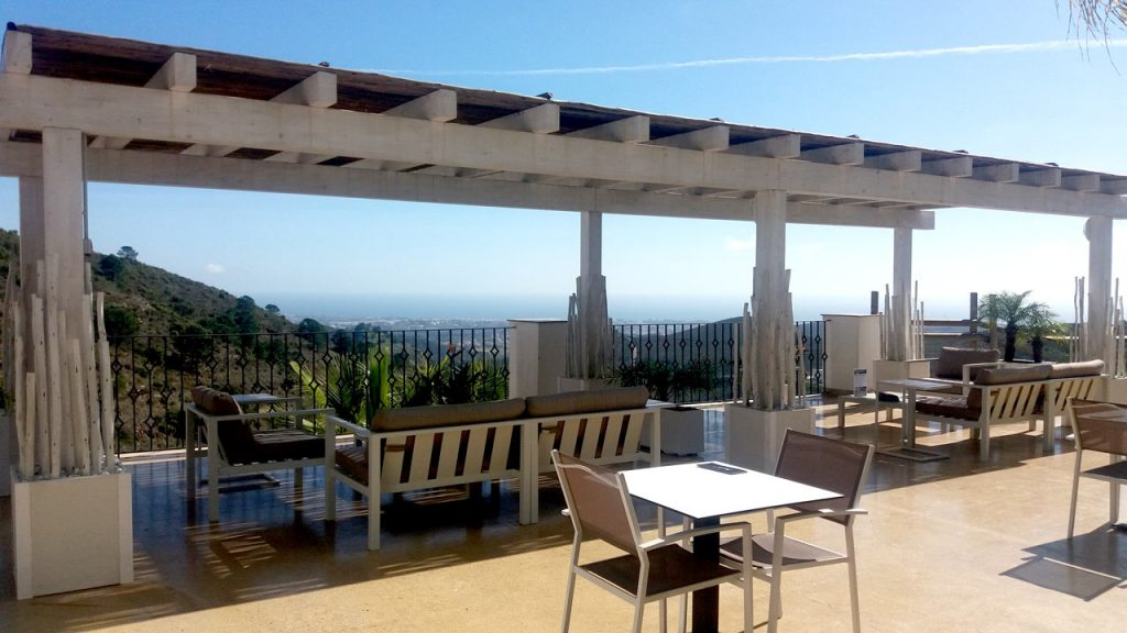Benahavis Hills square timber semi-shaded pergola with a view