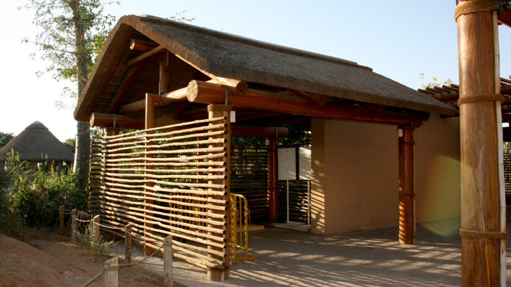 Al Ain Zoo thatched entrance and lath screen