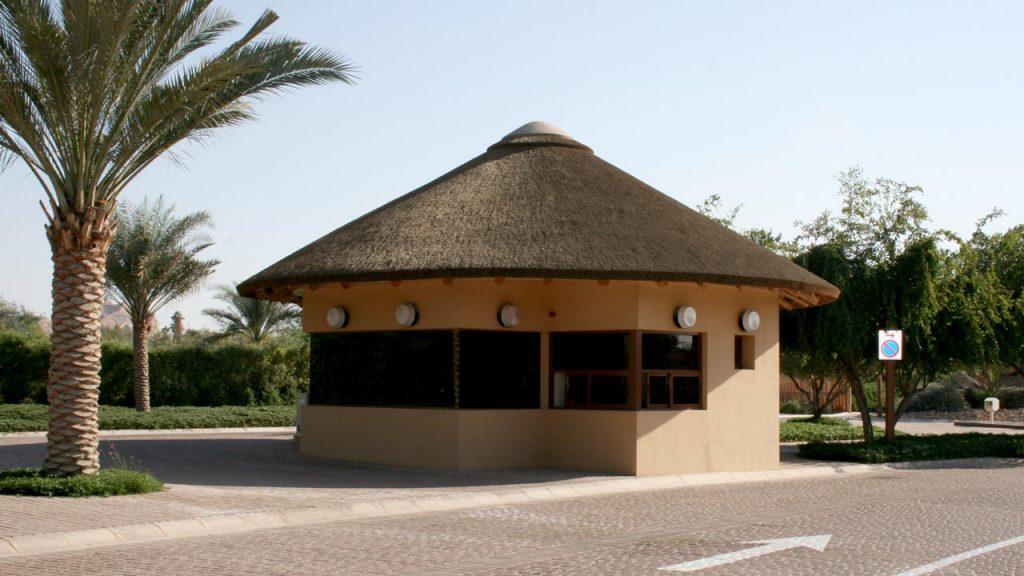 Al Ain Zoo thatched entrance building