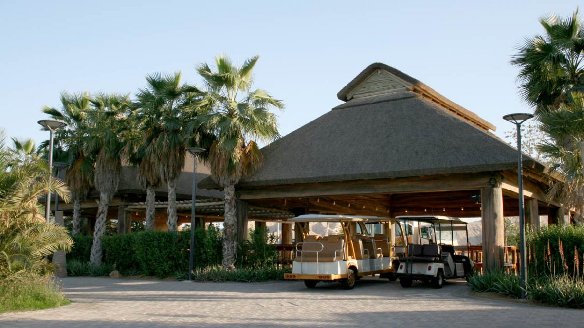 Al Ain Zoo thatched safari departure station