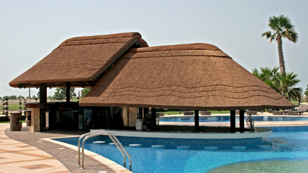 Thatched pool bar