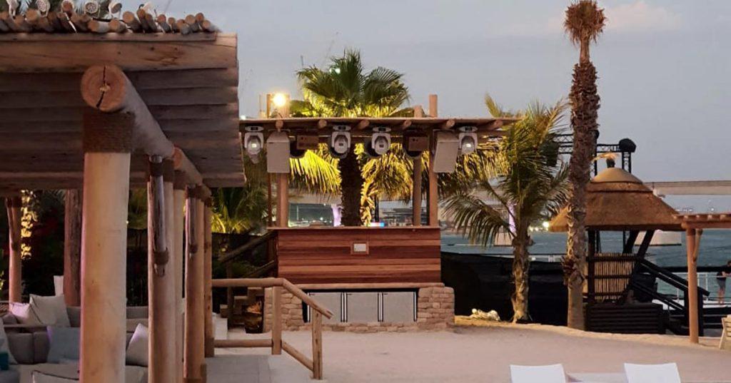 White Beach rustic timber pergolas, DJ booth and lifeguard tower.