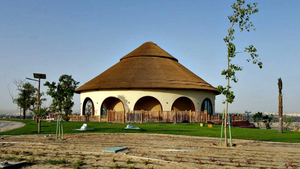 African Village thatched building with lath fencing
