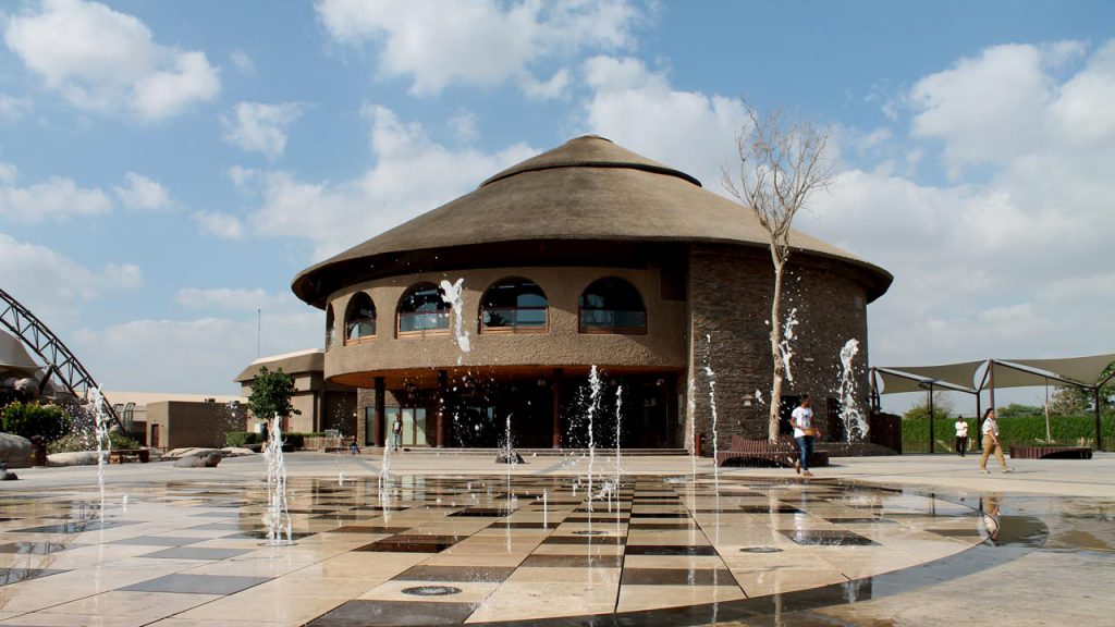 Dubai Safari main building thatched roof