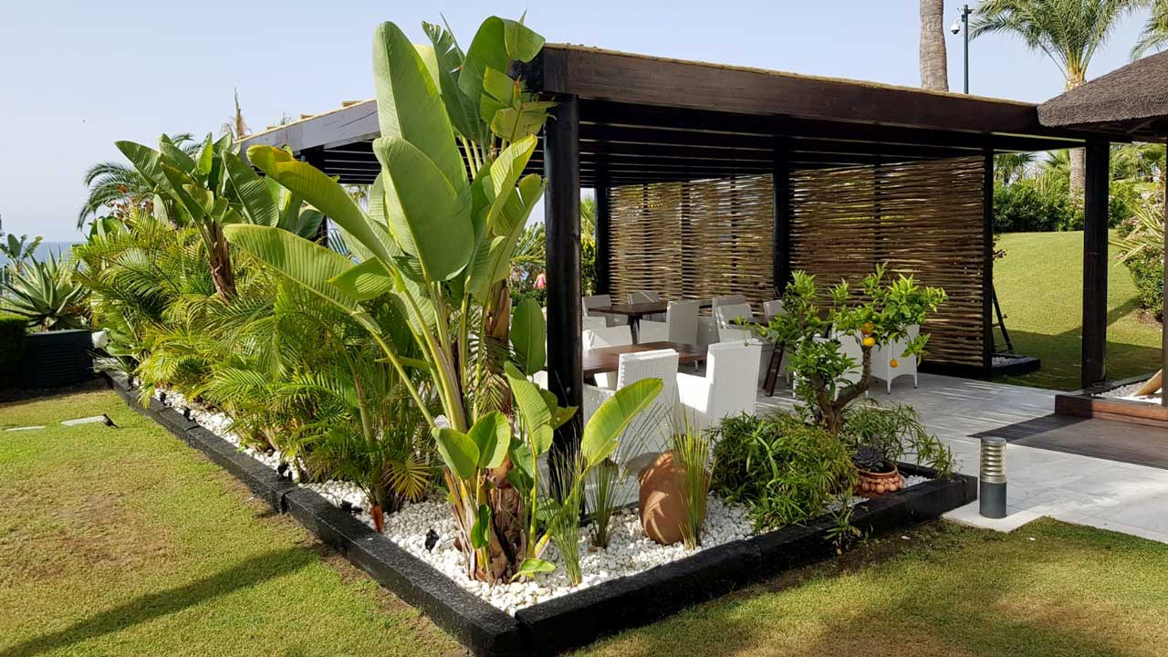 Square Timber Pergola with Privacy Screen