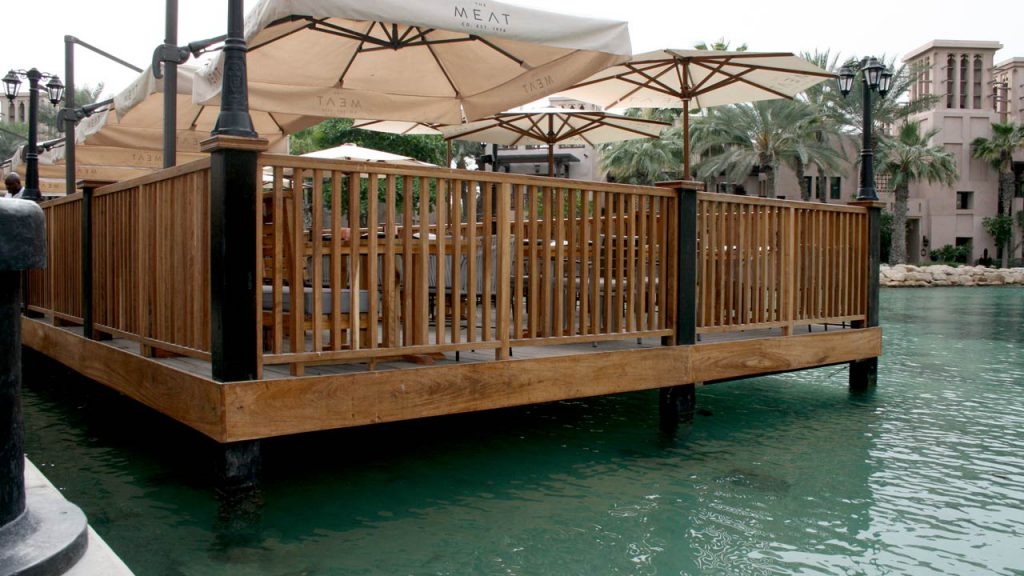 Restaurant timber seating deck and railings