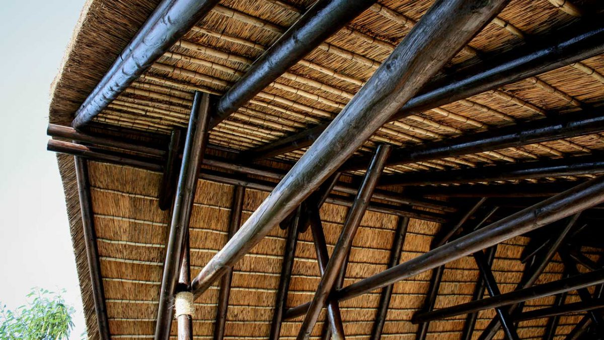 Thatched roof interior at Doha