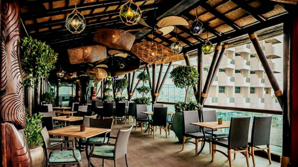 JBR thatched roof restaurant interior