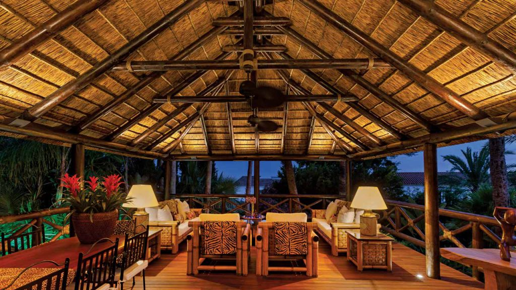 Elevated thatched gazebo interior