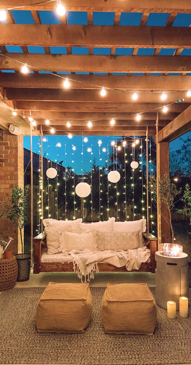 Square Timber Pergola with Swing and Lighting