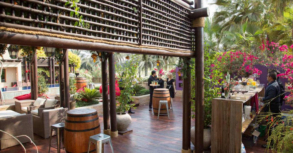 Stained timber pergola with decorative screen