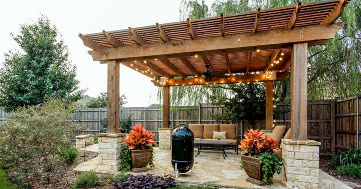 Timber Pergola with Lighting and Seating