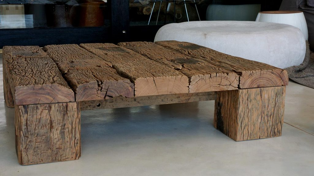 Cape Reed raw sleeper wood coffee table