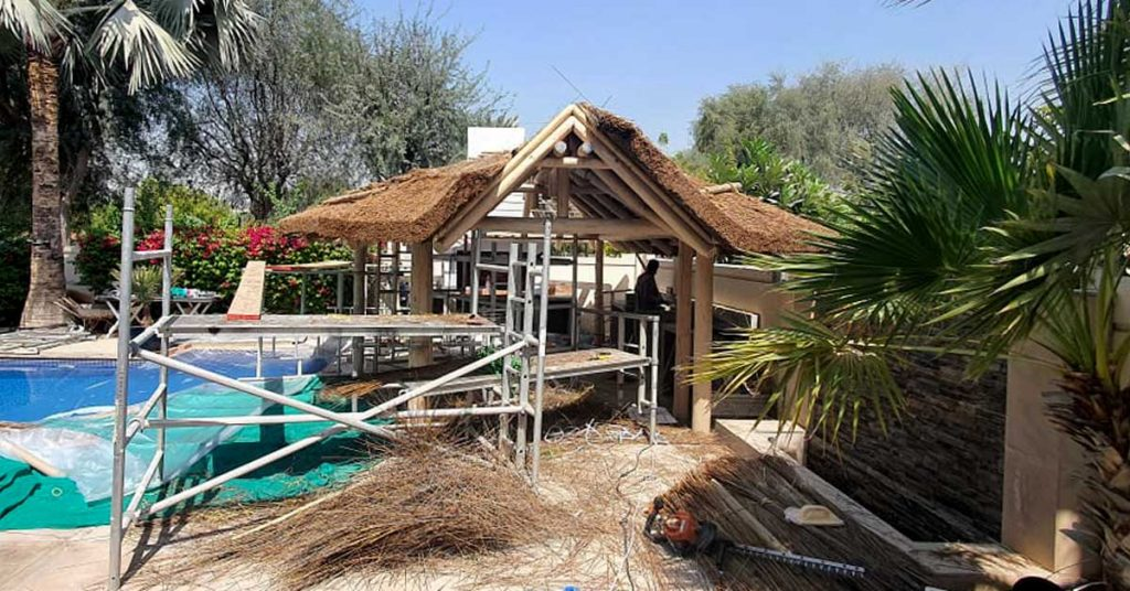 Cape Reed thatched gazebo construction process