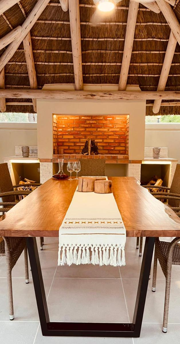 Welcoming interior ambiance of the thatch and timber structure